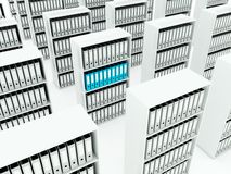 Folders on shelf. Blue and grey series Stock Image