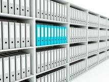 Folders on shelf. Blue and grey series Royalty Free Stock Photos
