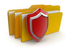 Folders and Shield  (clipping path included). Folders and Shield. Image with clipping path Royalty Free Stock Photo