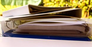 Folders. Some White folders with rings royalty free stock image