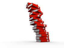 Folders stack. Stack of red folders on white background, deadline concept - 3d render Stock Photos