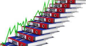 Folders stacked in the form of steps, marked the years 2011-2019, and green graph. Office folders stacked in the form of steps, marked the years 2011-2019, and stock illustration