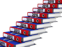 Folders stacked in the form of steps, marked the years 2011-2019. Office folders stacked in the form of steps. 2011-2019 year. The three-dimensional illustration Royalty Free Stock Photos