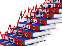 Folders stacked in the form of steps and red graph. Office folders stacked in the form of steps and red graph. 2009-2016 year. The three-dimensional illustration vector illustration