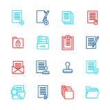 Folders Thin Line Icon Color Set. Vector. Folders Thin Line Color Icon Set Symbol Office or School Stationery Accessory for Web and App. Vector illustration of Royalty Free Stock Photos