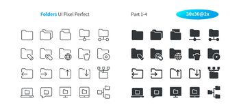 Folders UI Pixel Perfect Well-crafted Vector Thin Line And Solid Icons 30 2x Grid for Web Graphics and Apps. Simple Minimal Pictogram Part 1-4 Stock Photography