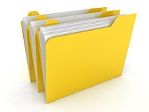 Folders on white. Yrllow folders  on white background Royalty Free Stock Photography