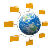 Folders world network structure. White Background Stock Photos