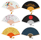 Foldind fan set. Decorative folding fan set for man and woman. Vector illustration. Isolated on white background stock illustration