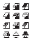 Folding awnings and canopies of buildings. Vector illustration Stock Images