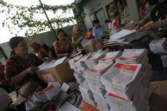 Folding Ballots For Election Representatives. Workers completed the process of folding the ballot paper in Solo, Central Java, Indonesia. The ballot papers used Royalty Free Stock Photography