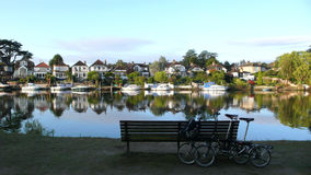 Folding bicycles near Thames River Royalty Free Stock Image