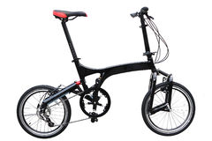 Folding bike. Folding black bike detail isolated on white background Royalty Free Stock Images