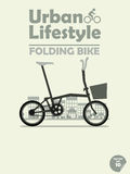 Folding bike on town background Stock Photos