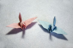 Folding bird paper or Origami Crane japanese style Royalty Free Stock Images