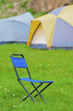 Folding blue camp chair Royalty Free Stock Photo