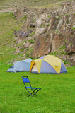 Folding blue camp chair Royalty Free Stock Photography