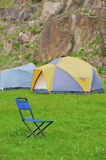Folding blue camp chair Royalty Free Stock Image