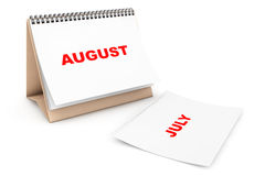 Folding Calendar with August month page Royalty Free Stock Images