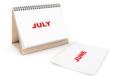 Folding Calendar with July month page Stock Image