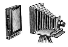 Folding camera wooden photography instrument. Vintage wooden travel photographic camera. Folding camera illustration published in Brockhaus Konversations Lexicon Royalty Free Stock Photos