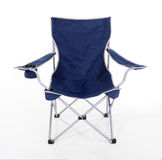 Folding Camp Chair. Blue folding camping chair with silver trim Royalty Free Stock Images