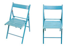 Folding chair. Wooden folding chair, Wooden chair blue, A chair made of wood from different angles, chair for a summer cafe, Folding wooden chair with back Stock Photo