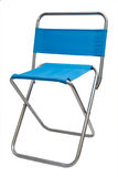 Folding chair. Blue metal folding chair isolated on white Stock Photo