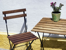 Folding chair and table Stock Photo