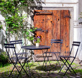 Folding chair and table Royalty Free Stock Photos