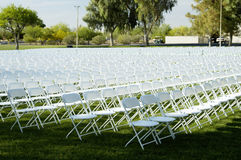 Folding Chairs 1. Folding chairs set up for a college graduation ceremony Royalty Free Stock Image