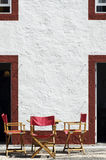 Folding chairs. Esplanade with folding chairs in a village, Portugal Stock Photos