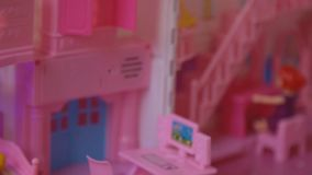 Folding children`s toy house. Close-up stock footage