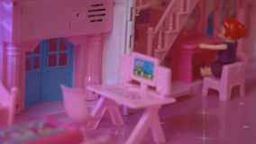 Folding children`s toy house. Close-up stock video footage