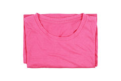 folding cotton pink T-shirt isolated on white Royalty Free Stock Image