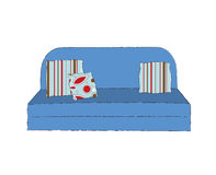 Folding couch. Sofa bed, three coushions Royalty Free Stock Image