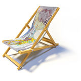 Folding deck chair with 10 english pounds Royalty Free Stock Image