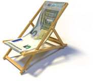 Folding deck chair with five euro Stock Image