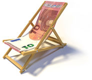 Folding deckchair with ten Euro Stock Images