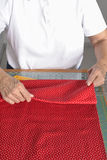 Folding fabric for quilt. Royalty Free Stock Images