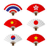 Folding fan or hand fan asia flag design set. Have thailand, hong kong, china, japan, korea and vietnam isolated on white background vector illustration