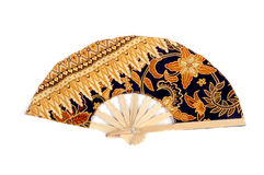 A folding fan patterned batik cloth Stock Photos