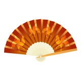 Folding fan. With a picture of the cock. 2017 fire rooster. illustration. Folding fan. With a picture of the cock. 2017 fire rooster. Vector illustration Royalty Free Stock Images