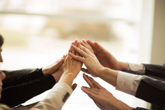 The folding of hands together. The conference of entrepreneurs. The folding of hands together Royalty Free Stock Image