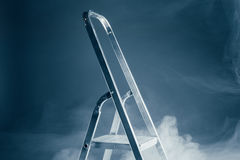 Folding ladder in smoke Stock Photo