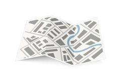 Folding map of the city with shadow on white Royalty Free Stock Photos