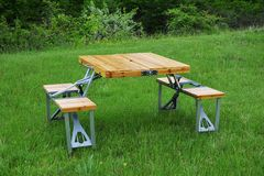 Folding marching table with chairs Royalty Free Stock Image