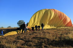 Folding and Packing a Hot Air Balloon Royalty Free Stock Images