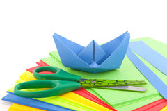 Folding a paper boat royalty free stock photos