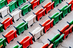 Folding plastic chairs at event venue Royalty Free Stock Image